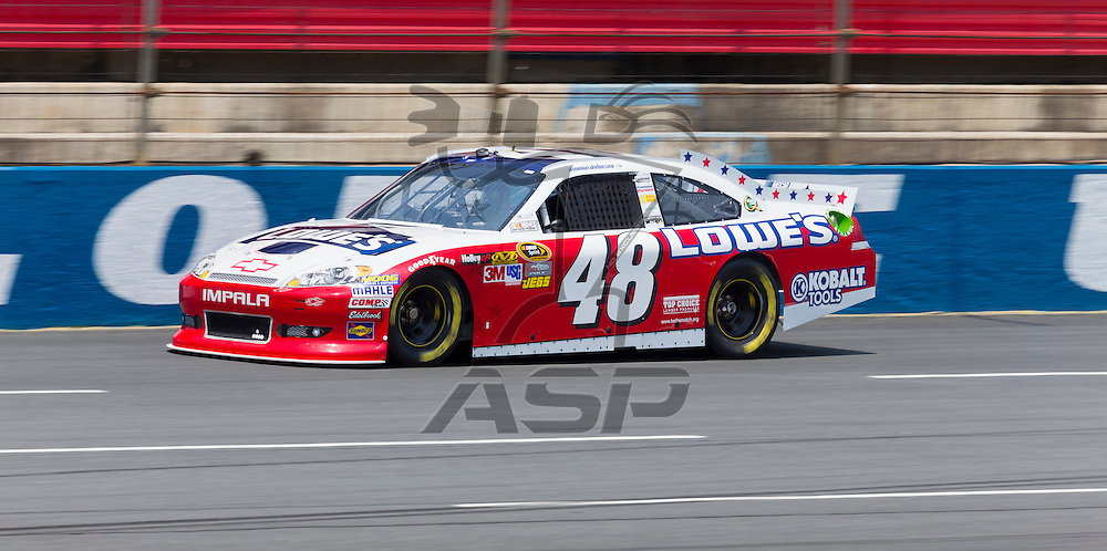 CONCORD, NC - MAY 26, 2012:  Jimmie Johnson (48) brings his Lowe's Chevrolet on the track for a practice session for the Coca-Cola 600 at the Charlotte Motor Speedway in Concord, NC.