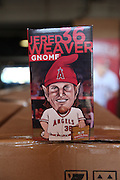 ANAHEIM, CA - JUNE 6:  A closeup photo of the Gnome box of Jered Weaver #36 of the Los Angeles Angels of Anaheim is handed out to fans before the game against the Chicago White Sox at Angel Stadium on Friday, June 6, 2014 in Anaheim, California. The Angels won the game 8-4. (Photo by Paul Spinelli/MLB Photos via Getty Images)