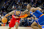 Washington Wizards Bradley Beal (3) and New York Knicks Noah Vonieh (32) during the NBA London Game match between Washington Wizards and New York Knicks at the O2 Arena, London, United Kingdom on 17 January 2019.