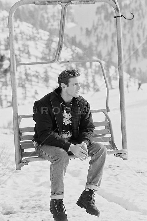 Man on a ski lift  in California