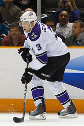 April 4, 2011; San Jose, CA, USA;  Los Angeles Kings defenseman Jack Johnson (3) skates with the puck against the San Jose Sharks during the first period at HP Pavilion. San Jose defeated Los Angeles 6-1. Mandatory Credit: Jason O. Watson / US PRESSWIRE
