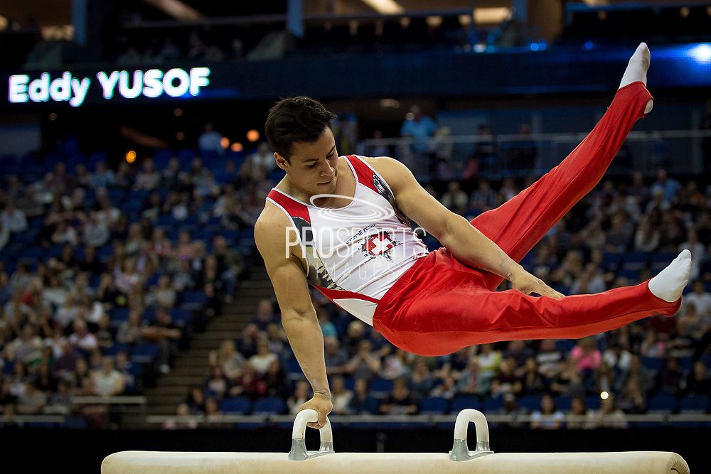 Eddy Yusof of Switzerland (SUI) on the Pommel Horse during the iPro Sport World Cup of Gymnastics 2017 at the O2 Arena, London, United Kingdom on 8 April 2017. Photo by Martin Cole.