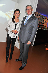 DANIELLE LINEKER and FRANK VAN DER POST Managing Director of Brands & Customer Experience of British Airways Plc at the launch of Flight BA2012 - an evening of Art, Food and Film to see Olympic Games inspires work by rising British Talent held at BA's pop up venue at 3-10 Shoreditch High Street, London E1 on 3rd April 2012.