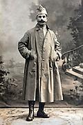 studio portrait of French soldier 1900s