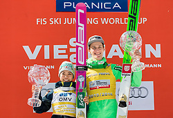 Overall World Cup winners in women and men classification Sara Takanashi (JPN) and Peter Prevc (SLO) celebrate with globes  during trophy ceremony after the Ski Flying Hill Individual Competition at Day 4 of FIS Ski Jumping World Cup Final 2016, on March 20, 2016 in Planica, Slovenia. Photo by Vid Ponikvar / Sportida
