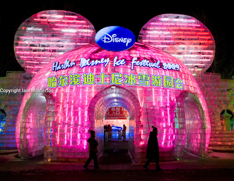Night view of ice sculptures sponsored by Disney at Harbin in northern China during annual Ice and Snow Festival February 2009