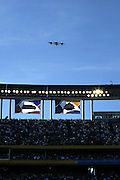 Super Hornets fly over the stadium during pregame festivities at Super Bowl XXXVII in San Diego on 01/26/2003. The Tampa Bay Buccaneers defeated the Oakland Raiders 48 to 21. ©Paul Anthony Spinelli