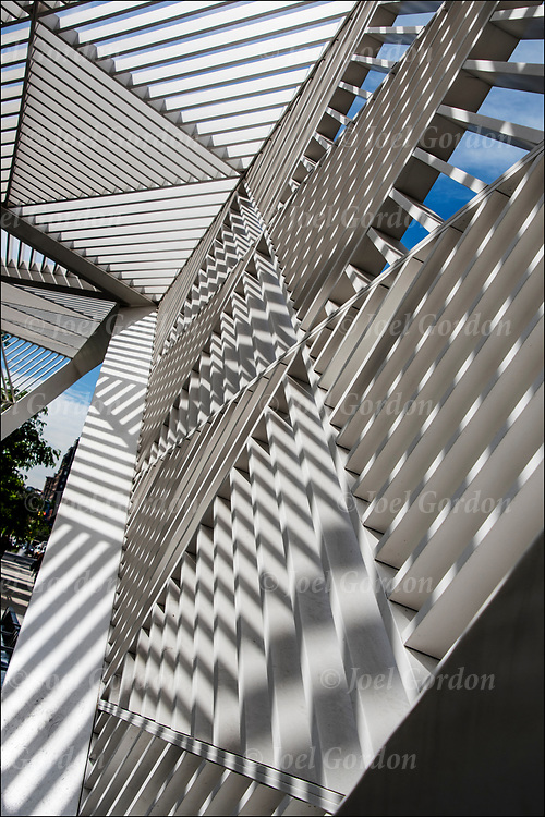 Shadows patterns and shapes from the sun directly above on the white canopy lattice sculpture.