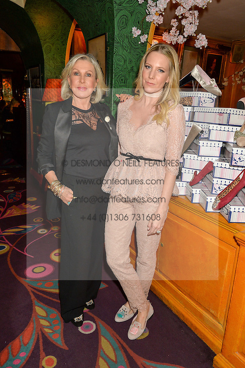 Left to right, JANE WINKWORTH and ALICE NAYLOR-LEYLAND at a party to celebrate Alice Naylor-Leyland's Collaboration with French Sole held at Annabel's, 44 Berkeley Square, London on February 2nd 2016