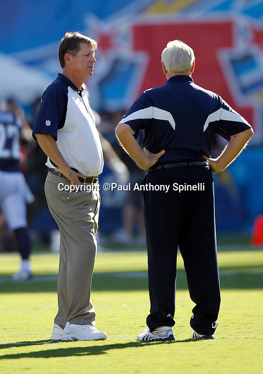 San Diego Chargers Head Coach Norv Turner (left) talks to Dallas Cowboys Head Coach Wade Phillips prior to a NFL week 2 preseason football game against the Dallas Cowboys on Saturday, August 21, 2010 in San Diego, California. The Cowboys won the game 16-14. (©Paul Anthony Spinelli)