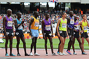Abel Kiprop Mutai, Jairus Kipchoge Birech and Conseslus Kipruto of Kenya line up for the 3000m Steeplechase during the Sainsbury's Anniversary Games at the Queen Elizabeth II Olympic Park, London, United Kingdom on 25th July 2015. Photo by Ellie Hoad.