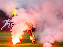 Firefighter during a football game between NK Olimpija Ljubljana and NK Maribor in Final Round (18/19)  of Pokal Slovenije 2018/19, on 30th of May, 2014 in Arena Z'dezele, Ljubljana, Slovenia. Photo by Matic Ritonja / Sportida