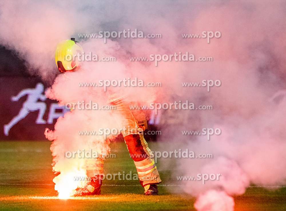 Firefighter during a football game between NK Olimpija Ljubljana and NK Maribor in Final Round (18/19)  of Pokal Slovenije 2018/19, on 30th of May, 2014 in Arena Z'dezele, Ljubljana, Slovenia. Photo by Matic Ritonja / Sportida