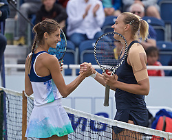 LIVERPOOL, ENGLAND - Sunday, June 23, 2019: Kaia Kanepi (EST) (R) shakes hands with Corinna Dentoni (ITA) after winning the Ladies' Final 6-2, 6-2 on Day Four of the Liverpool International Tennis Tournament 2019 at the Liverpool Cricket Club. (Pic by David Rawcliffe/Propaganda)