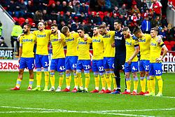 Leeds United players during  minutes applause - Mandatory by-line: Ryan Crockett/JMP - 26/01/2019 - FOOTBALL - Aesseal New York Stadium - Rotherham, England - Rotherham United v Leeds United - Sky Bet Championship