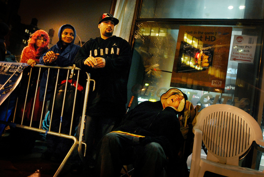 Prospective buyers for the new Playstation 3 in Manhattan queued for up to 5 days, camping out on the pavement to get a chance to buy the new game console. Many hardcore gamers were present but also others who planned to sell their purchase for as much as $5000 on auction web sites such as E bay.
