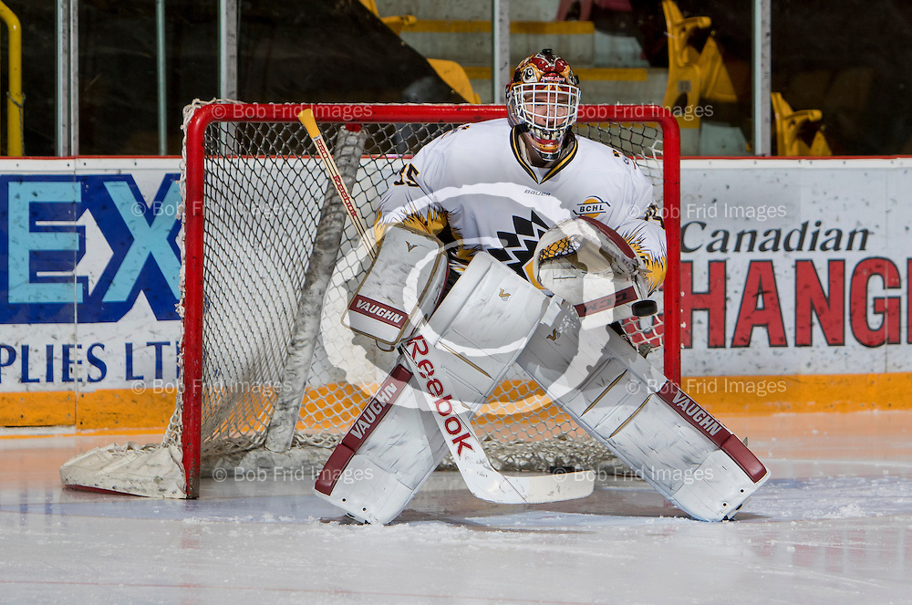 10 January 2015:  goalie Aidan Pelino of the Chiefs  during a game between the Chilliwack Chiefs and the Langley Rivermen at Prospera Centre, Chilliwack, BC.    ****(Photo by Bob Frid - All Rights Reserved 2015): mobile: 778-834-2455 : email: bob.frid@shaw.ca ****