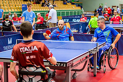 (Team UKR) PETRUNIV Vasyl and SVATOS Petr in action during 15th Slovenia Open - Thermana Lasko 2018 Table Tennis for the Disabled, on May 10, 2018 in Dvorana Tri Lilije, Lasko, Slovenia. Photo by Ziga Zupan / Sportida