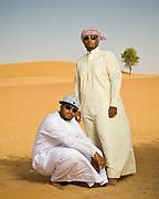 Emirati hip hop duo, Desert Heat -Salim Dahman AKA 'Illmiyah'  and Abdullah Dahman AKA 'Arableak photographed in the desert just outside Dubai.