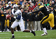 08 NOVEMBER 2008: Penn State quarterback Daryll Clark (17) tries to get away from an Iowa defender in the first half of an NCAA college football game against Penn State, at Kinnick Stadium in Iowa City, Iowa on Saturday Nov. 8, 2008. Iowa beat Penn State 24-23.