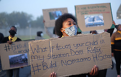 Cape Town. 220720. Learners and members of Equal Education (EE) picket at the district offices of the Western Cape Education Department (WCED) in Kuilsriver, demanding that the prefabricated, temporary structures which was destroyed by storm at Nomzamo High School in Strand be replaced with properly built classrooms and toilets. Picture:Ian Landsberg/African NewsAgency (ANA).