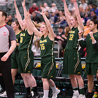 5th year guard Caitlin Zacharias (15) of the Regina Cougars in action during the Women's Basketball Playoff Game on February  16 at Centre for Kinesiology, Health and Sport. Credit: Arthur Ward/Arthur Images