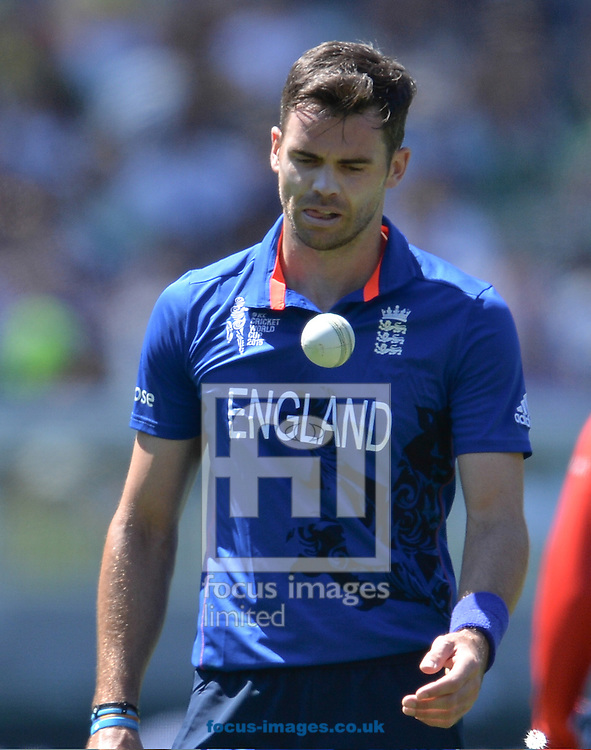 James Anderson on England looks at the ball during the 2015 ICC Cricket World Cup match at Melbourne Cricket Ground, Melbourne<br /> Picture by Frank Khamees/Focus Images Ltd +61 431 119 134<br /> 14/02/2015