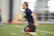 Former Ole Miss quarterback Bo Wallace runs the 40-yard dash during Pro Day at the Manning Center, in Oxford, Miss. on Thursday, March 5, 2015.