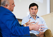 Sports Illustrated Editorial Director Chris Stone looks on as Barry Alvarez speaks at the Cap Times 2017 Idea Fest, Sunday, September 17, 2017
