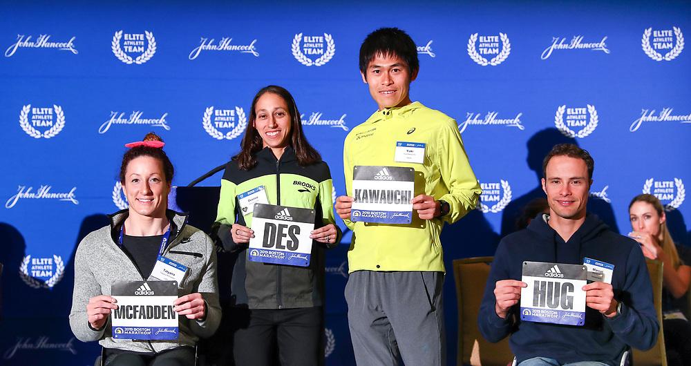 press conference Des Linden, Yuki Kawauchi, Tatyana McFadden, Marcel Hug defending champions Boston Marathon weekend