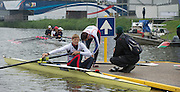 Amsterdam. NETHERLANDS. GBR LM2-. Jonathan CLEGG and Sam SCRIMGEOUR. right coach, Rob MORGAN.  Tuesday morning training, wet and misty.   2014 FISA  World Rowing. Championships.  De Bosbaan Rowing Course . 09:10:15  Tuesday  26/08/2014  [Mandatory Credit; Peter Spurrier/Intersport-images]