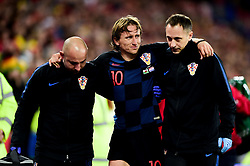 Luka Modric of Croatia leaves the field after picking up a injury whilst tackling Harry Wilson of Wales - Mandatory by-line: Ryan Hiscott/JMP - 13/10/2019 - FOOTBALL - Cardiff City Stadium - Cardiff, Wales - Wales v Croatia - UEFA European Qualifiers