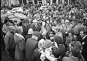 Image of Fianna Fáil leader Charles Haughey touring West Cork during his 1982 election campaign...04/02/1982.02/04/82.4th February 1982..Mobbed:..Charles Haughey surrounded by well wishers on the streets as he seeks their votes in the upcoming general election..