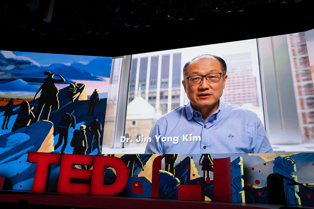 Jim Yong Kim speaks at TED2019: Bigger Than Us. April 15 - 19, 2019, Vancouver, BC, Canada. Photo: Bret Hartman / TED
