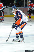KELOWNA, CANADA, OCTOBER 29: Logan McVeigh #12 of the Kamloops Blazers warms up as the Kamloops Blazers visit the Kelowna Rockets  on October 29, 2011 at Prospera Place in Kelowna, British Columbia, Canada (Photo by Marissa Baecker/Shoot the Breeze) *** Local Caption *** Logan McVeigh;