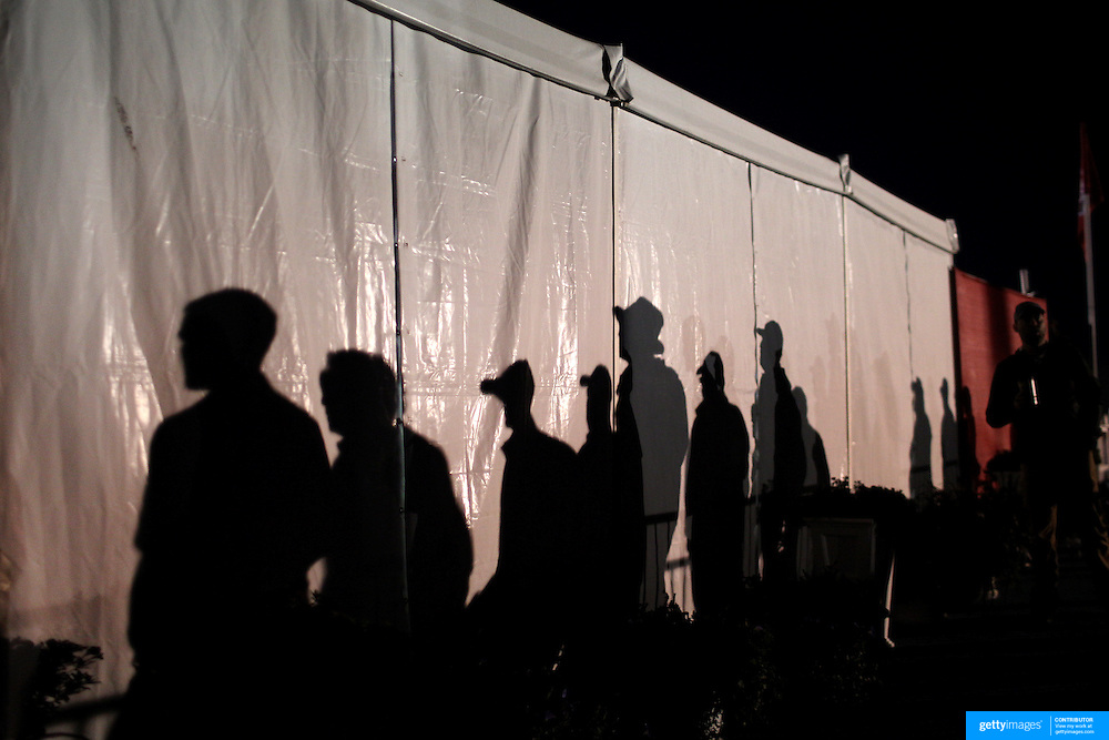 Ryder Cup 2016. Day Two. Spectators arrive at dawn before the start of competition during the Ryder Cup at the Hazeltine National Golf Club on October 01, 2016 in Chaska, Minnesota.  (Photo by Tim Clayton/Corbis via Getty Images)