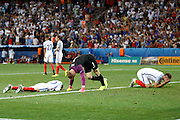 England players after the Round of 16 Euro 2016 match between England and Iceland at Stade de Nice, Nice, France on 27 June 2016. Photo by Andy Walter.