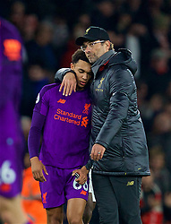 LONDON, ENGLAND - Saturday, November 3, 2018: Liverpool's manager Jürgen Klopp embraces Trent Alexander-Arnold after the FA Premier League match between Arsenal FC and Liverpool FC at Emirates Stadium. The game ended 1-1. (Pic by David Rawcliffe/Propaganda)