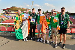 Lee Jordan, IRE, with his family and coach, celebrating his bronze medal in the T47 High Jump at the Berlin 2018 World Para Athletics European Championships