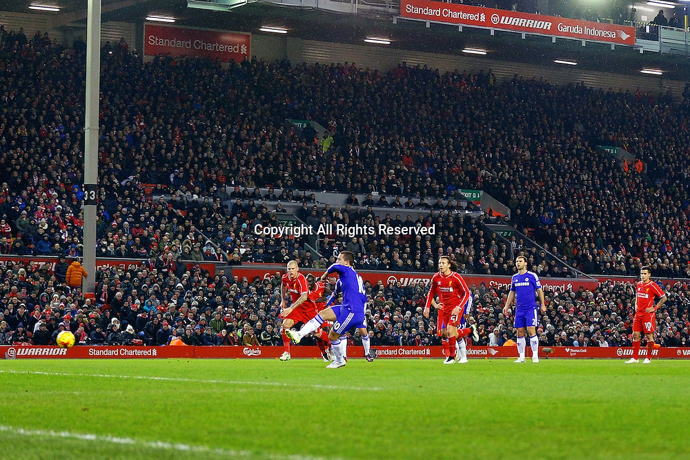 20.01.2015.  Anfield, Liverpool, England. Capital One Cup Semi Final. Liverpool versus Chelsea. Chelsea midfielder Eden Hazard takes a penalty kick and scores a goal (0-1)