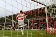 Doncaster Rovers forward Nathan Tyson scores for Doncaster Rovers  during the The FA Cup third round match between Doncaster Rovers and Stoke City at the Keepmoat Stadium, Doncaster, England on 9 January 2016. Photo by Simon Davies.