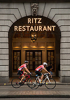 Two riders cycle past The Ritz during The Prudential RideLondon Sportives. Sunday 29th July 2018<br /> <br /> Photo: Ben Queenborough for Prudential RideLondon<br /> <br /> Prudential RideLondon is the world's greatest festival of cycling, involving 100,000+ cyclists - from Olympic champions to a free family fun ride - riding in events over closed roads in London and Surrey over the weekend of 28th and 29th July 2018<br /> <br /> See www.PrudentialRideLondon.co.uk for more.<br /> <br /> For further information: media@londonmarathonevents.co.uk