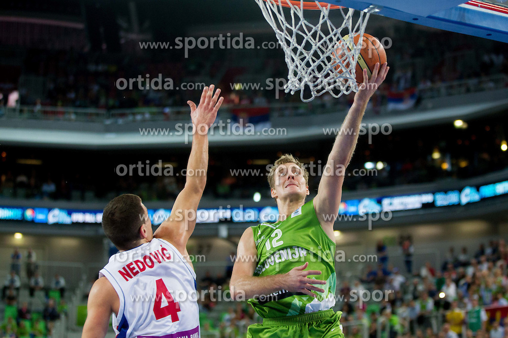 Nemanja Nedovic #4 of Serbia vs Zoran Dragic of Slovenia during basketball match between National teams of Serbia and Slovenia in 5th to 8th place game at Day 16 of Eurobasket 2013 on September 19, 2013 in Arena Stozice, Ljubljana, Slovenia. (Photo by Vid Ponikvar / Sportida.com)