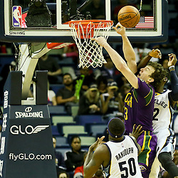 Feb 1, 2016; New Orleans, LA, USA; Memphis Grizzlies forward Jeff Green (32) fouls New Orleans Pelicans center Omer Asik (3) during the first quarter of a game at the Smoothie King Center. Mandatory Credit: Derick E. Hingle-USA TODAY Sports