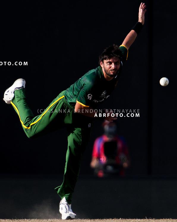 Shahid Afridi bowling during the ICC world Twenty20 Cricket held in Sri Lanka.