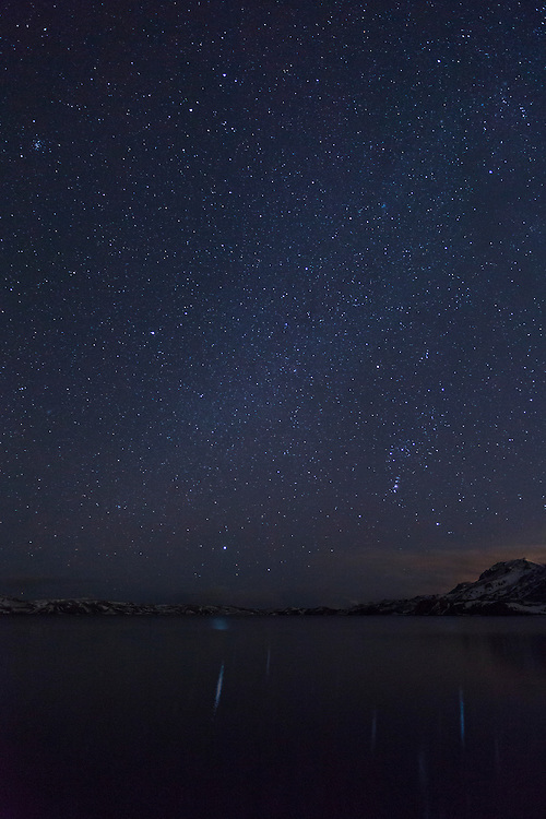 Night sky over Lake Kleifarvatn