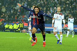 January 19, 2019 - Paris, Ile de France, France - Joy of the Paris SG striker EDINSON CAVANI after scored the sixth goal during the French championship League 1 Conforama match Paris SG against EA Guingamp at the Parc des Princes Stadium in Paris - France.Paris SG won 9-0 (Credit Image: © Pierre Stevenin/ZUMA Wire)
