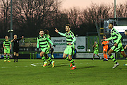 Forest Green Rovers Christian Doidge(9) thinks he's scored the winner but the linesman flag is up for offside during the Vanarama National League match between Forest Green Rovers and Braintree Town at the New Lawn, Forest Green, United Kingdom on 21 January 2017. Photo by Shane Healey.