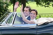 James and Pippa Matthews leave wedding reception in an E Type Jagular May 2017