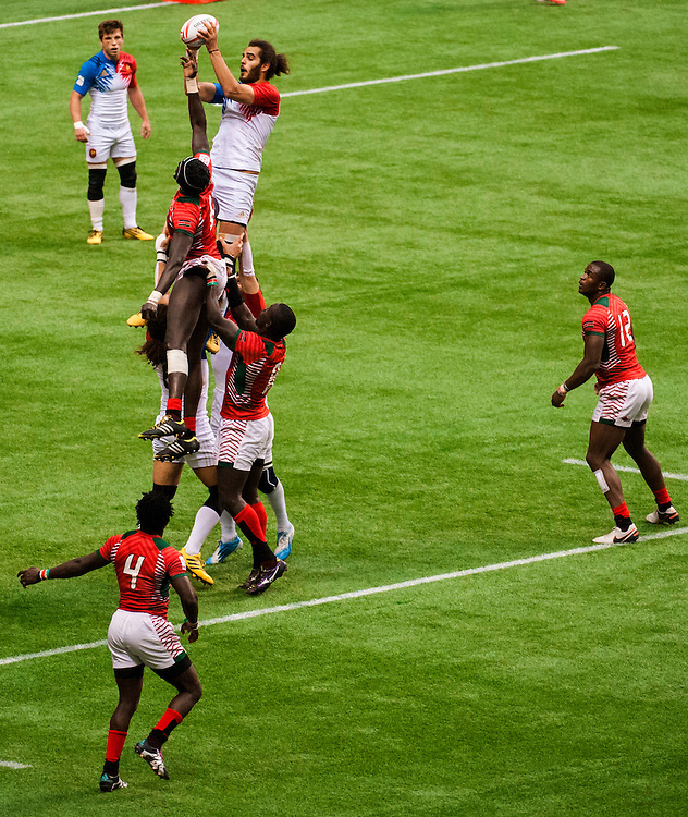 Pierre Gilles Lakafia of France wins the line out against Kenya during the knockout stages of the 2016 Canada Sevens leg of the HSBC Sevens World Series Series at BC Place in  Vancouver, British Columbia. Sunday March 13, 2016.<br /> <br /> Jack Megaw<br /> <br /> www.jackmegaw.com<br /> <br /> 610.764.3094<br /> jack@jackmegaw.com